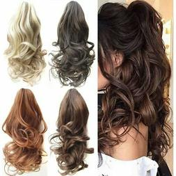 1/2Pcs Ponytail Clip in Hair Extensions Claw On Pony Tail Re