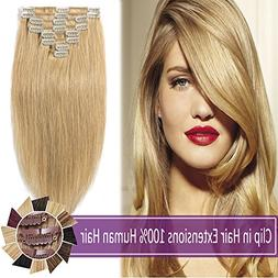 """10""""-24""""Remy Clip in Hair Extensions Human Hair 70g-120g"""
