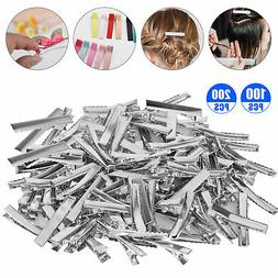 100 200x alligator hair clips silver metal