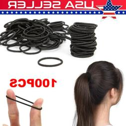 100 pcs Black Hair Elastic for Thick and Curly No Metal Hair