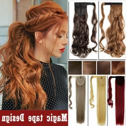 100% as Real Clip In For human Hair Extension Pony Tail Wrap