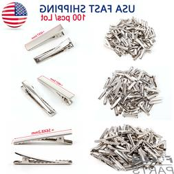 100pcs Alligator Hair Clips Silver Metal Crocodile For Bows