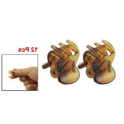12 Pcs Lovely Brown Plastic Mini Hairpin 6 Claws Hair Clip C