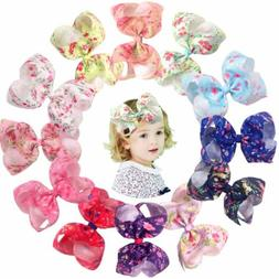 12Pcs 6inch Bows Clips Big Spring Flowers Hair Bow Alligator
