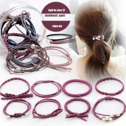 12Pcs/Set Elastic Rubber Hair Ties Bands Rope Ponytail Holde