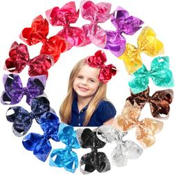 15Pc Sparkly Glitter Sequins Big 6 Inch Hair Bows Alligator