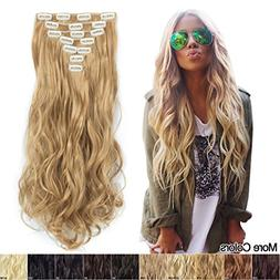 7Pcs 16 Clips 20 Inch Curly Wave Clip in on Synthetic Hair E