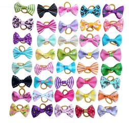 20Pc Mixed Hair Bows W/Rubber Bands For Small Dog Cat Groomi