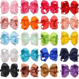 20pc 6inch Bow Baby Headbands Solid Ribbon Big Hair Bows for