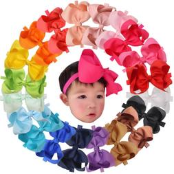 20Pcs 6 inch Bowd Baby Girls Headbands Grosgrain Ribbon Big