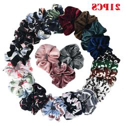21PCS Chiffon Flower Scrunchies For Hair Velvet Women Ponyta