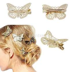 2PCS Gold Butterfly Hair Clip Hair Grip Hairpins Barrette Je