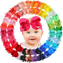 30Pcs 6 inch Bows Baby Girls Headbands Grosgrain Ribbon Big