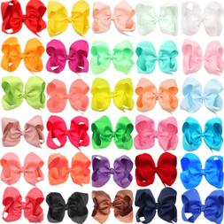 "30pcs Lots 6"" Big Hair Bows Alligator Clips for Baby Girls C"