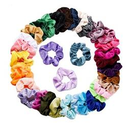 36 Pcs For Women Or Girls Velvet Elastic Hair Bands Scrunchy