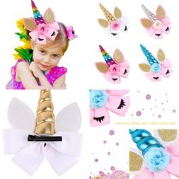 "4 Pack Of 7"" Unicorn Hair Bows Jojo For Girls W Clips Barret"