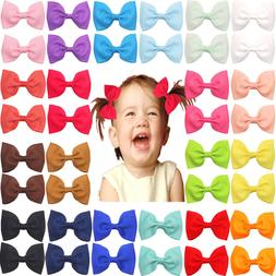 40Lot Baby Girls Ribbon Hair Bow Clips Barrettes For Girls T