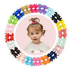 """40pcs Boutique 2"""" Hair Bow Clips Fully Lined Clip for Baby G"""