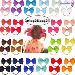 40pcs Hair Bows Tie Ribbon Rubber Band For Girls Kids Childr