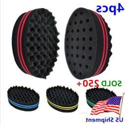 4pc Men Women Hair Brush Sponge Afro Wave Curl Twists Sponge