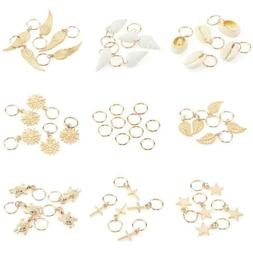 50Pcs Gold Shell Snowflake Pendant Rings Hair Clip for Braid
