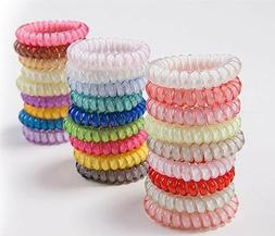 5pcs Hair Ties Gel Stretch Plastic Band Coil Spiral Phone Co