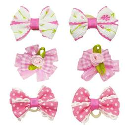 6Pcs/Pack Small Dog Pink Hair Bows With Rubber Bands For Pup