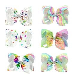 6PCS 6 inch Rainbow Hair Bows Girls Bows Sparkling Hair Clip