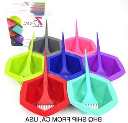 7-Color Rainbow Hair Dye Brush and Bowl Set for Hair Colorin