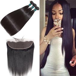 8A Brazilian Straight Hair Lace Frontal Closure with Bundles