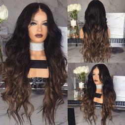 Black Brown Curly Synthetic Hairstyle Hair For Women Full Wi