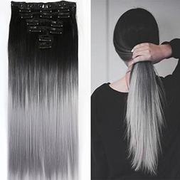 22 Inches Black Grey Syntheic Full Head Ombre Balayage Strai