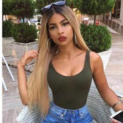 Blonde Ombre Dark Roots  Wig Synthetic Hair Long Straight Fu