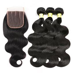Mureen Brazilian Hair With Closure 8A 3 Bundles Body Wave Vi