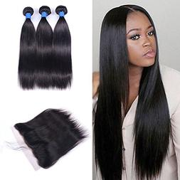 Ucrown hair Brazilian Lace Frontal Closure with 3 Bundles St