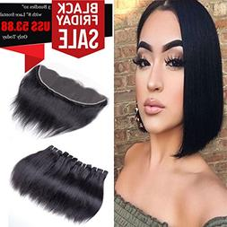 Brazilian Virgin Hair Straight With Lace Frontal Human Hair