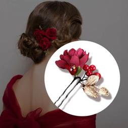 Bridal Wedding Hair Pins Accessories Red Flower For Women Ha
