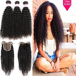 Miss GAGA 3 Bundles Brazilian Curly Hair With Closure Middle
