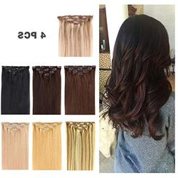 """14"""" Clip in Hair Extensions Remy Human Hair for Women - Silk"""