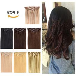 "14"" Clip in Hair Extensions Remy Human Hair for Women - Silk"