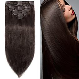 10 inch 70g Clip in Remy Human Hair Extensions Full Head 8 P