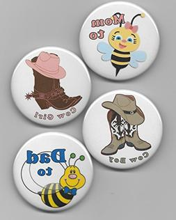 """2-1/4"""" """" Cow Boy and Cow Girl PLUS Mom to Bee & Dad to Bee B"""