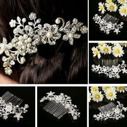 Crystal Rhinestone Wedding Flower Pearls Hair Clip Hair Comb