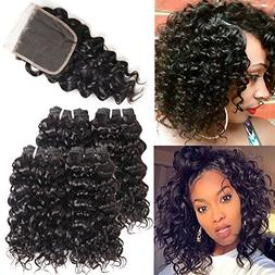 Curly Hair 4 Bundles with Lace Closure Free Part Short Human