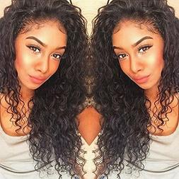 Curly Human Hair Lace Front Wigs 150% Density Brazilian Deep
