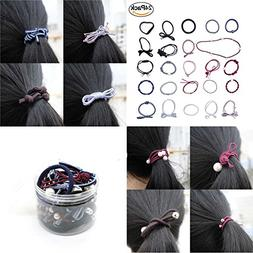 LUTE 24 Pack No Damage Assorted Rubber Scrunchies Hair Elast