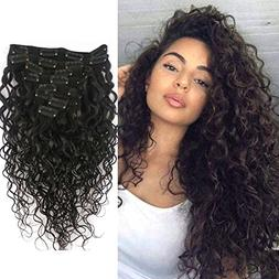 Doren Deep Curly Clip In Human Hair Extensions for Women 8Pc