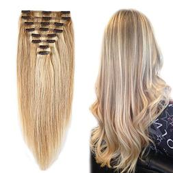 Double Weft 100% Remy Human Hair Clip in Extensions Grade 7A