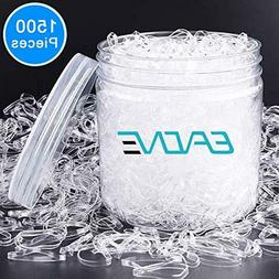 EAONE 1500 Pieces Clear Elastic Hair Bands, Rubber Hair Ties