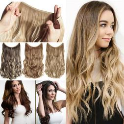 Elastic Halo'S No Clip in One Piece 3/4 Full Head Hair Exten